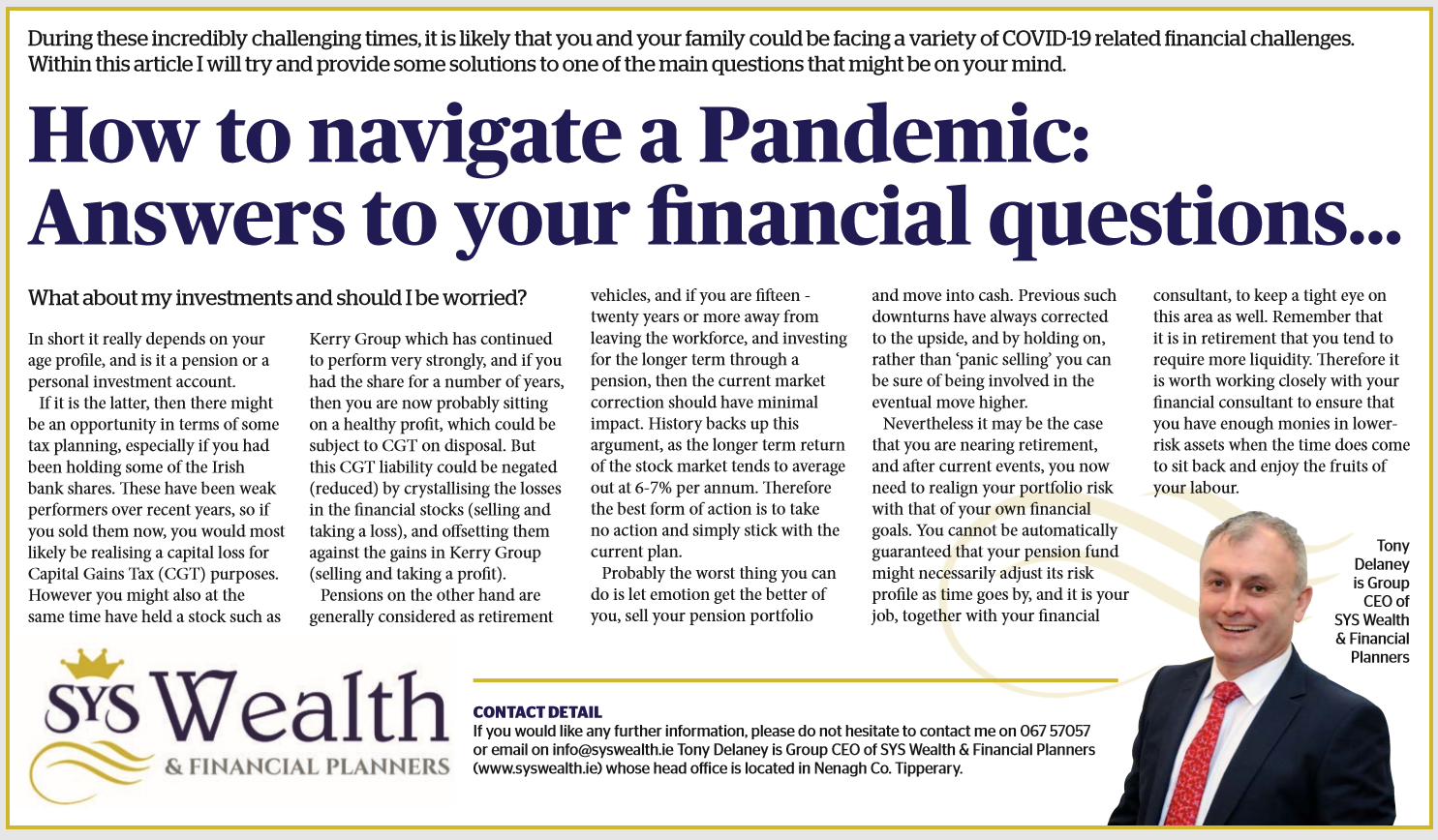 Article: What About My Investments During this Pandemic?